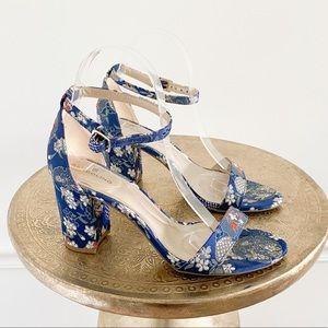 Bandolino Blue Floral Embroidered Block Heel